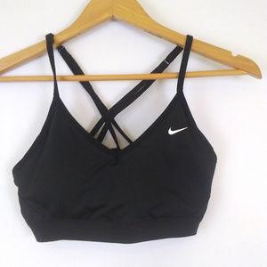 nike pro indy cross back strappy sports bra gym M